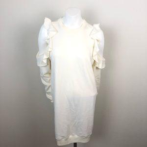 Forever 21 Cream Cold Shoulder Ruffle Dress